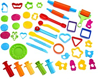 GiBot Dough Tools Colorful and Non-Toxic 46 Piece Assortments Large-Size Pizza Dough Tools Modeling Dough Tools for Kids and Children Large