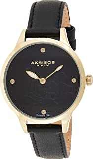 Akribos XXIV Women's Diamond Accented Flower Engraved Dial Leather Strap Watch - Packed in a Beautiful Gift Box
