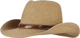 (ラボーグ)La Vogue 麦わら帽子 カウボーイハット つば広 ストローハット メンズ レディース ウエスタンハット 紳士帽 キャップ 日焼け UVカット 紫外線