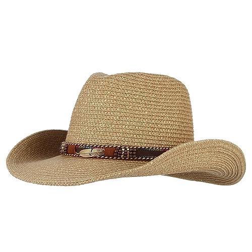 6fab1f8fecd Licus Women Men Cowboy Hat Floppy Sun Hat Straw Summer Beach Cap Wide Brim  Panama Hats