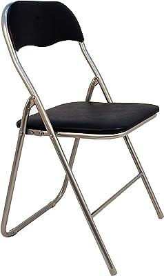 La Silla Española Sevilla - Silla plegable en aluminio con asisento y respaldo acolchados en PVC, Negro, 78x43,5x46 cm: Amazon.es: Hogar