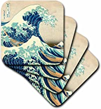 3dRose CST_155631_3 The Great Wave Off Kanagawa by Japanese Artist Hokusai Dramatic Blue Sea Ocean Ukiyo e-Print 1830 Ceramic Tile Coasters (Set of 4)