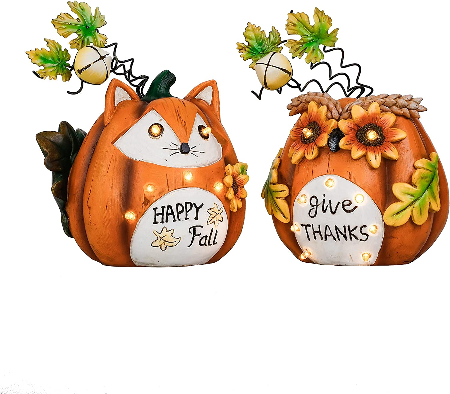 Valery Madelyn Pumpkins Fall Decor Outdoor Statues with Solar Lights, Set of 2 Resin Figurines with Fox and Owl Face for Table Thanksgiving Autumn Harvest Home Decorations , 8 inch Tall