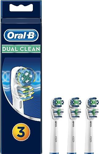 Oral-B Dual Clean Brossettes De Rechange x3, Recharge Originale Pour Brosse À Dents Électrique