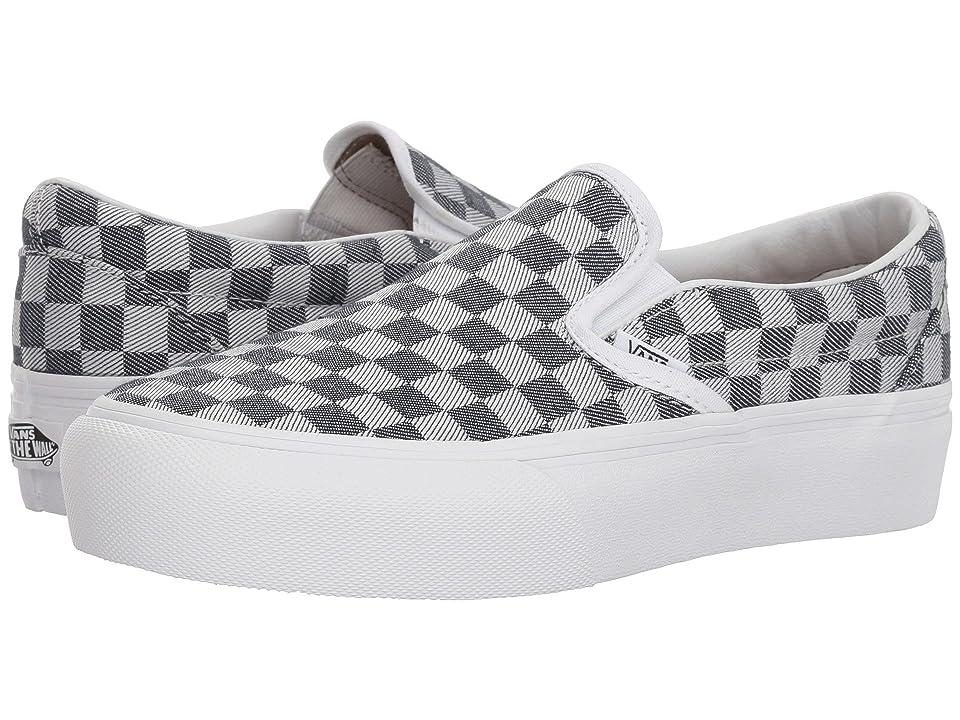 Vans Slip-On Platform SF (Checkerboard Denim) Skate Shoes