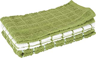 """Ritz 100% Cotton Terry Kitchen Dish Towels, Highly Absorbent, 25"""" x 15"""", 3-Pack, Cactus Green"""