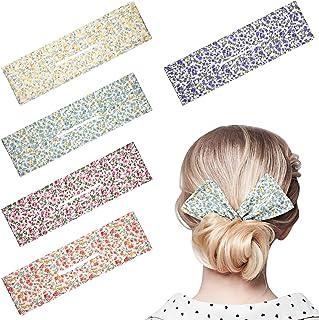 5 Pieces Deft Bun for Hair Floral Hair Bun Makers Hair Bands Twist Hair Bun Maker Summer Bun Maker Magic Clip Hair Twist f...
