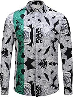 Mens Long Sleeve Luxury Print Dress Shirt