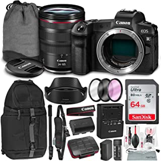 Canon EOS R Mirrorless Digital Camera with 24-105mm Lens and 3 Pc. Filter Kit + Monopod + Travel Backpack & 64GB SD Card Basic Accessory Bundle