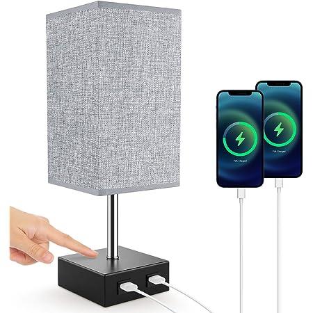 Lampe de Chevet, Lovebay Lampe de Table Tactile avec 2 Ports USB, 3 Niveaux de Luminosité RéGlables E27 Lampe de Chevet Moderne pour Chambre Table Salon Bureau (C 1 Pièce/Gris)