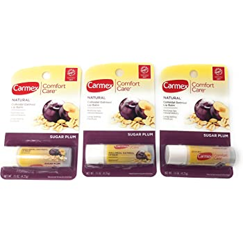 Carmex Comfort Care Colloidal Oatmeal Lip Balm Stick, Sugar Plum, 0.15 oz (3 Pack) (Bundle)