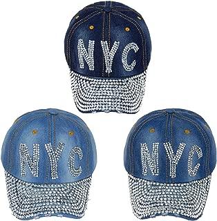 24 Pack Wholesale Jewel Rhinestone Bling Studs Baseball Cap Adjustable - Bulk Case of 24 Hats