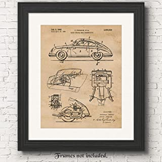 Original Porsche 356 Patent Poster Prints, Set of 1 (11x14) Unframed Photo, Great Wall Art Decor Gifts Under 15 for Home, Office, Garage, Man Cave, College Student, Teacher, Germany Cars & Coffee Fan