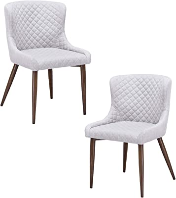 Cream One Size Porthos Home TFC039B CRM Dining Chair with Fabric Upholstery Set of 2