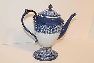 Bombay Company Blue & White Tile Tall Teapot Platinum Trim 12