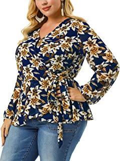 Agnes Orinda Women's Plus Size Chiffon Blouse Ruffle Hem Floral Wrap Blouse