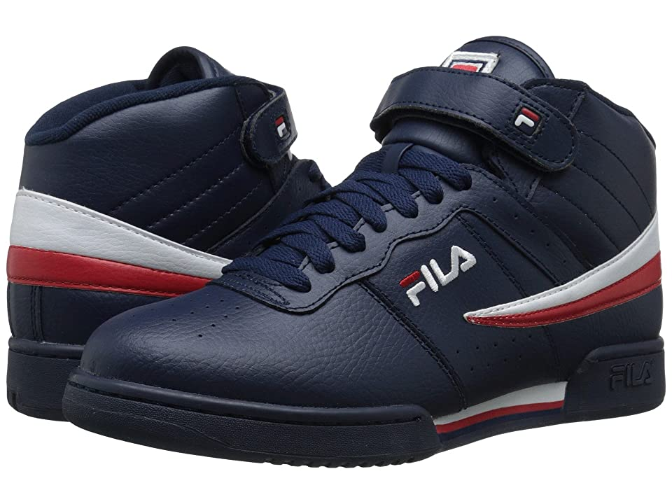 Fila F-13V Leather/Synthetic (Fila Navy/White/Fila Red) Men's Shoes