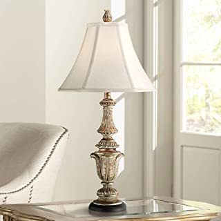 Traditional Table Lamp Gold Wash Candlestick Off White Bell Shade for Living Room Family Bedroom Bedside Nightstand - Regency Hill