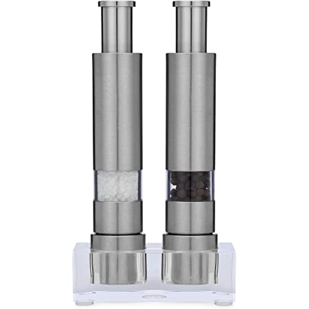 """Grind Gourmet Salt and Pepper Grinder Set of 2 with Modern Thumb Push Button Grinder, Premium Stainless Steel, for Black Pepper, Sea Salt and Himalayan Salt, With Stand"""""""