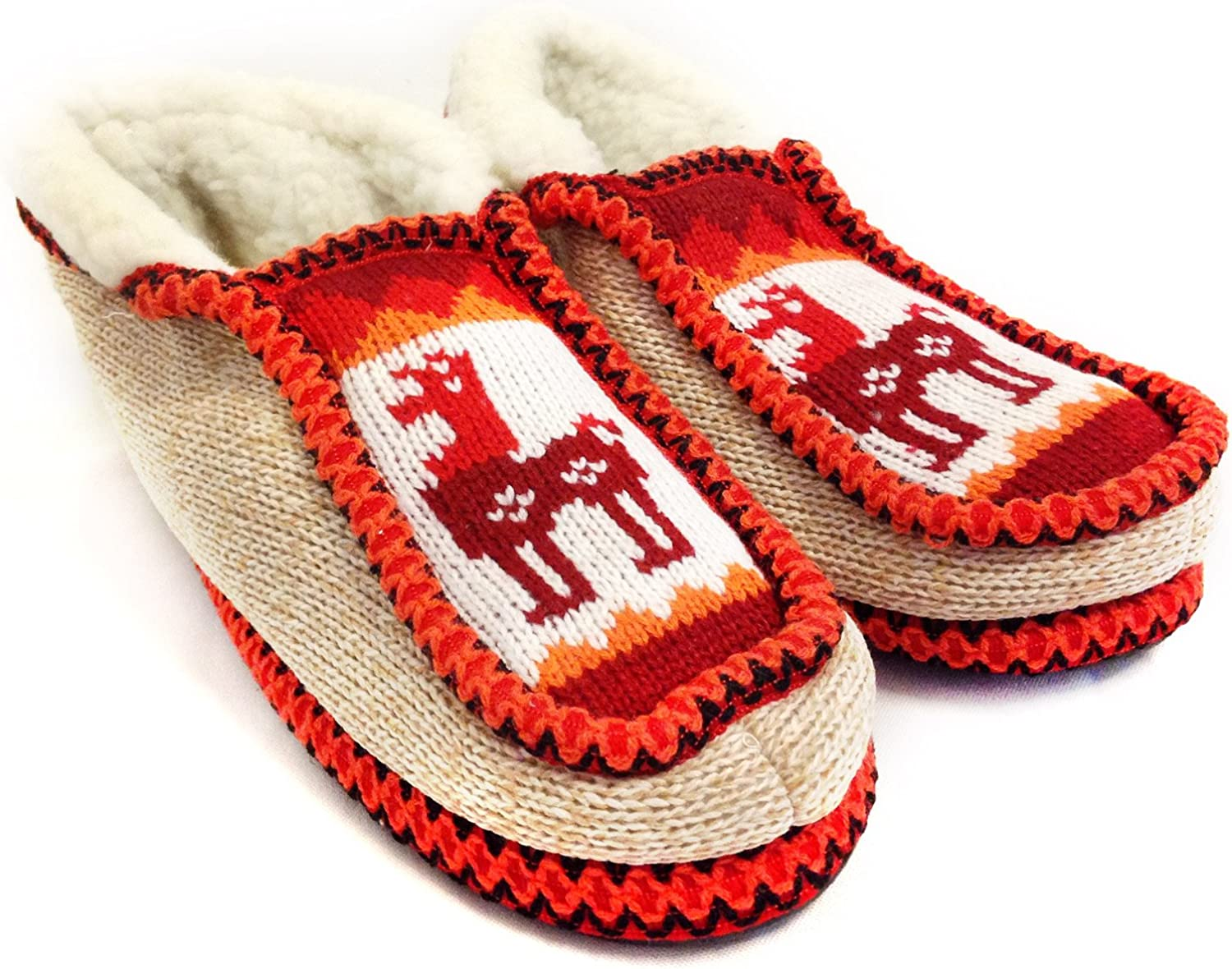 The silverino Slippers Handmade Moccasin (Real Wool Inside ) from Salta, silverina Red