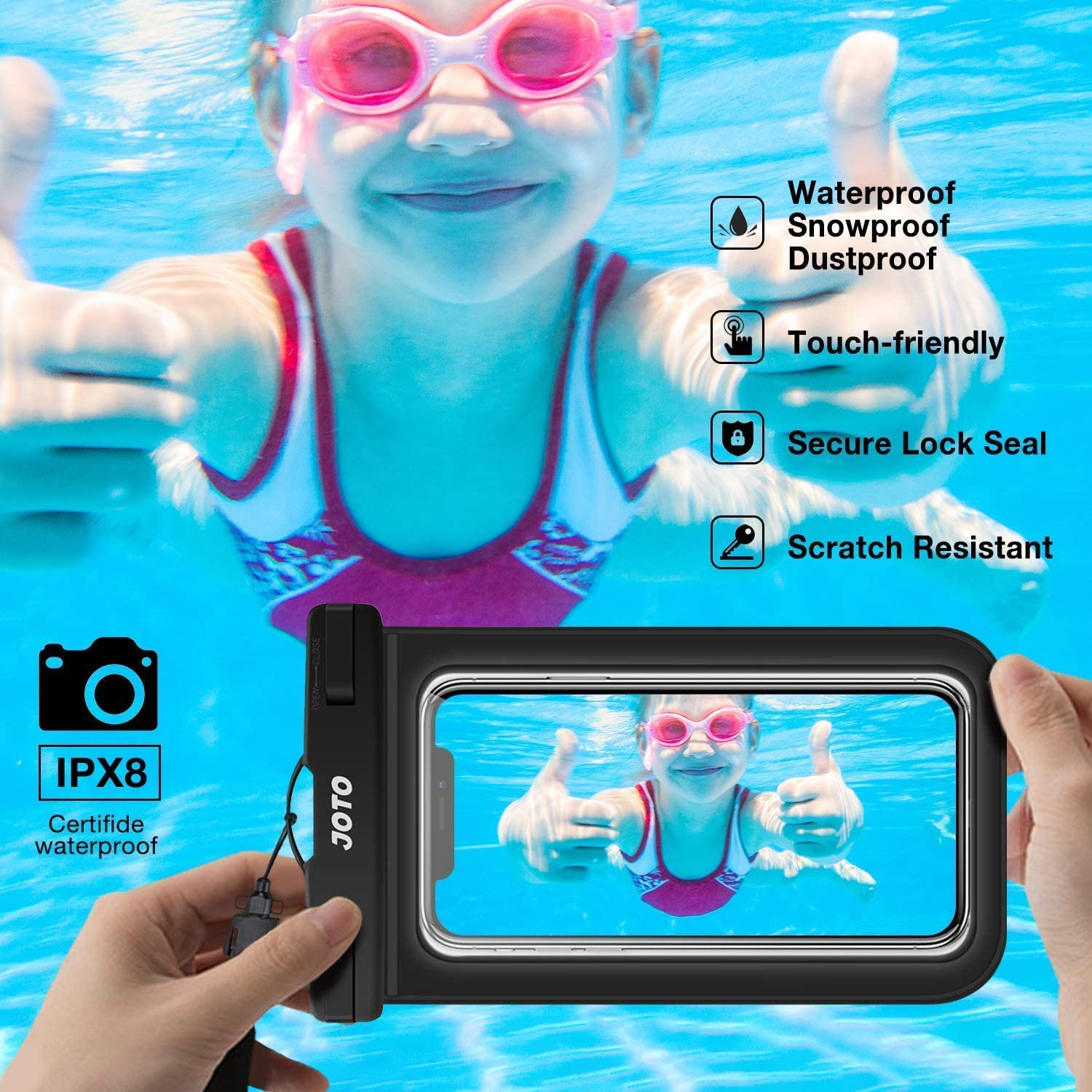 ProCase [2 Pack] Universal Waterproof Case Cellphone Dry Bag Pouch Bundle with JOTO [6 Pack] Universal Waterproof Pouch for Phones up to 7.0