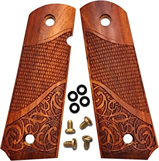 Dan Eagle 1911 Grips Full Size Exotic Solid Rosewood Fits Government and Commander Checkered and Scroll Design