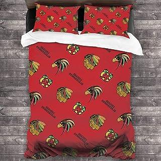 "Chicago H-ockey B-lackhawks Bedding Set Unisex 3-Piece Microfiber Quilt Set Pillowcase Twin Size 86""X70"""