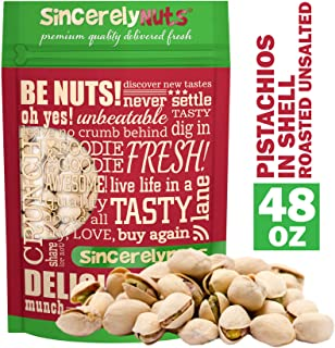 Sincerely Nuts Large Pistachios Roasted & Unsalted in Shell - 3 Lbs. Bag | Healthy Snack Food | Great for Cooking | Source of Fiber, Protein, Vitamins & Minerals | Gourmet | Kosher & Gluten Free
