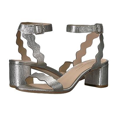 Loeffler Randall Emi Scallop Block Heel Sandal (Silver Crinkle Metallic) Women