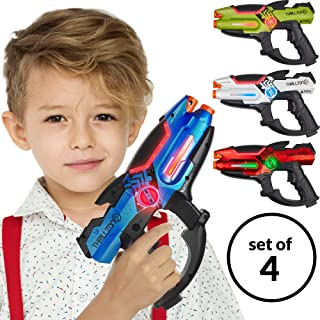 ThrillZone Laser Tag Guns Set – 4 Pack Multiplayer Laser Tag Gun, No Vest Needed – Indoor & Outdoor Group Fun – Safe Infrared Lazer Toy Blasters for Kids with Vibrations, Sound Effects, Lights