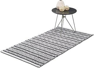 Relaxdays Tapis de sol de passage couloir 70x140 fait main en coton, noir blanc