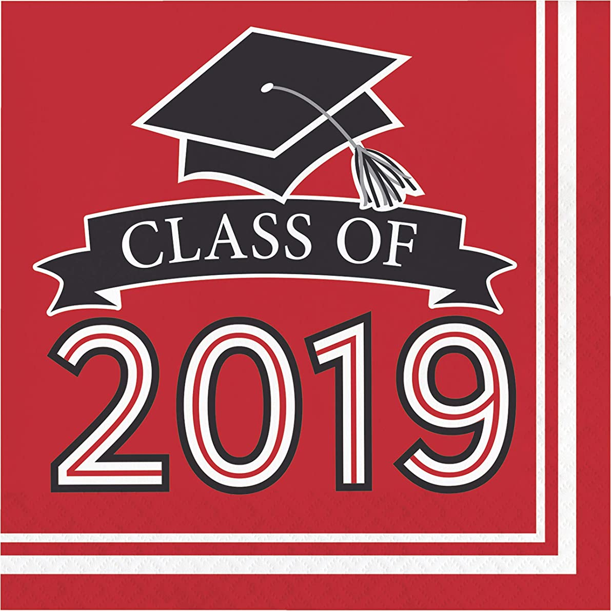 "Creative Converting 335414 Red Class Of 2019 Napkins, 6.5"","