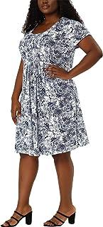 Agnes Orinda Plus Size Dresses for Women Short Sleeves Inverted Box Pleat Floral Midi Dress