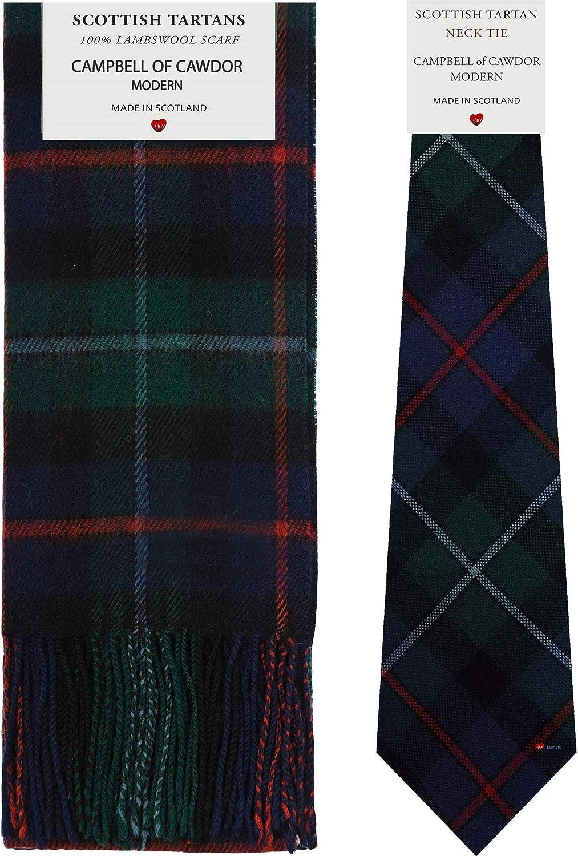 Campbell Of Cawdor Modern Tartan Plaid 100% Lambswool Scarf & Tie Gift Set