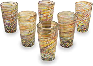 NOVICA Multicolor Hand Blown Glass Highball Glasses, 13 Oz, 'Rainbow Centrifuge' (Set Of 6)
