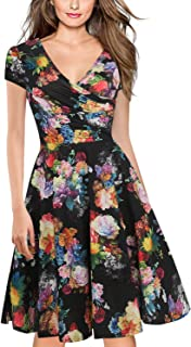 Women's Criss-Cross V-Neck Cap Half Sleeve Floral Casual Work Party Tea Swing Dress OX233