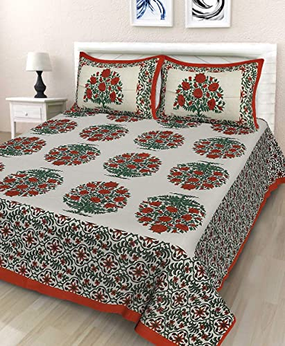 JAIPUR PRINTS 100 Cotton Double BedSheet for Double Bed with 2 Pillow Covers Set Queen Size Bedsheet Series 180 TC 3D Printed Pattern