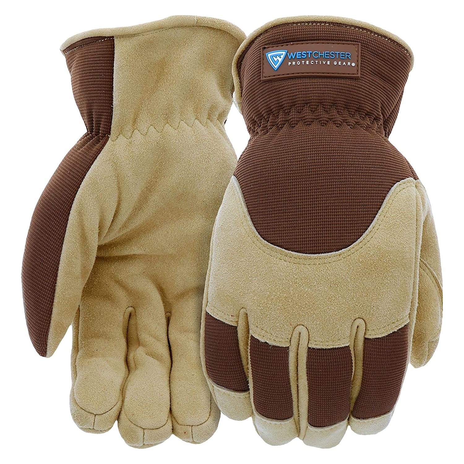West Chester Deerskin Split-Leather Palm Men's Work Gloves, Thinsulate Lining, Winter Gloves, Tan/Brown, X- Large, (91510-XL)