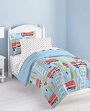 dream FACTORY Fire Truck Ultra Soft Microfiber Comforter Set, Twin, Blue