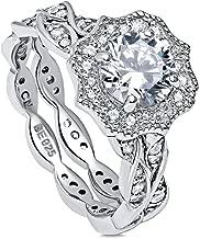 BERRICLE Rhodium Plated Sterling Silver Round Cubic Zirconia CZ Art Deco Halo Milgrain Engagement Wedding Ring Set 1.68 CTW
