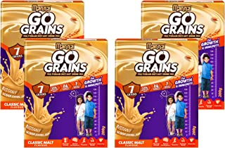Manna Go Grains Malt | 800g (200g x 4 Packs) | Health and Nutrition Multigrain Malted Drink for Growth & Immunity. High Pr...