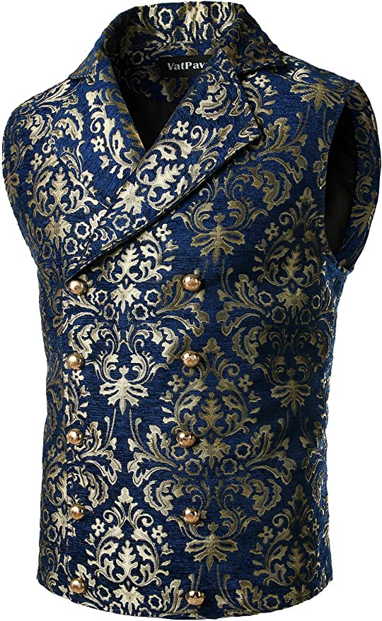 Men's Steampunk Vests, Waistcoats, Corsets VATPAVE Mens Victorian Double Breasted Vest Gothic Steampunk Waistcoat  AT vintagedancer.com