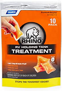 Camco 41519 Rhino Heavy Duty Holding Tank Treatment -Eliminates Tough Odors in Your RV Tote Tank for Up to 7 Days and Digests Waste and Tissue - Pine Scent , 10 Pack