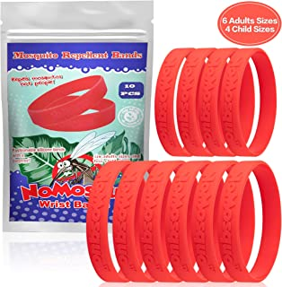NoMosquo™ Mosquito Repellent Bracelet 10 Pack (6 Adult Size, 4 Kid Size) – 100% Natural Essential Oils, Deet-Free Insect Repellent Wristbands, Waterproof – 300 Hours Outdoor Mosquito Protection, Red