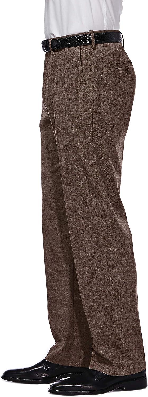 Haggar Men's J.M. Premium Performance Stretch Stria 2-Button Suit Separate Coat, Chocolate, 48L with Plain Front Suit Separate Pant, Chocolate, 34Wx29L