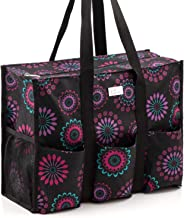 Pursetti Zip-Top Organizing Utility Tote Bag (Purple Circle_L) with Multiple Exterior & Interior Pockets for Working Women, Nurses, Teachers and Soccer Moms