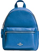 Coach Women's Mini Charlie Backpack In Pebble Leather Blue