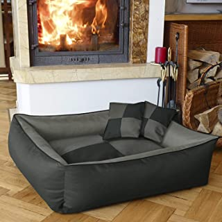 Mellifluous Small Size Dog and Cat Pet Bed with 2 Pillows, Grey-Black
