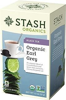 Stash Tea Organic Earl Grey Black Tea, 18 Count Tea Bags in Foil (Pack of 6) Individual Tea Bags for Use in Teapots Mugs or Cups, Black Tea and Green Tea, Brew Hot or Iced