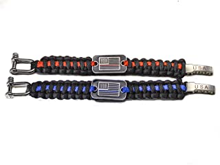 NPGD USA Survival Paracord Bracelet for Hiking, Fishing and Camping with Adjustable Shackle for Men and Women